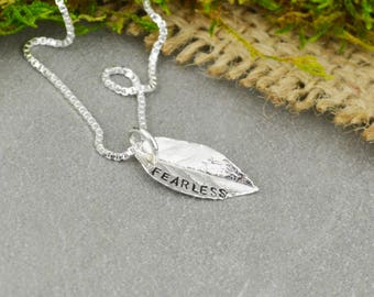 Mantra Inspirational Necklace - Custom Hand Stamped Jewelry - Cast Silver Leaf - Botanical Jewelry
