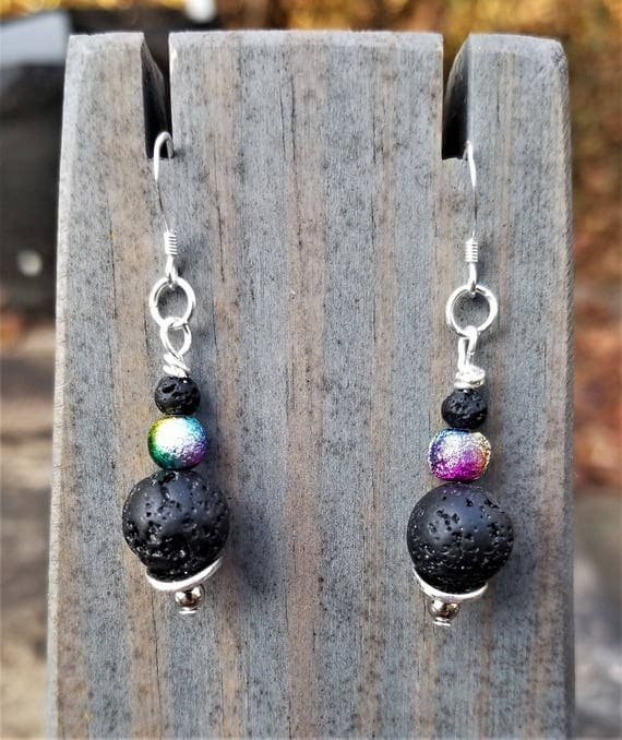 Galaxy Lava Rock Earrings