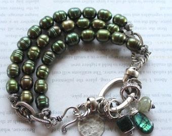 bracelet, green labradorite bracelet, labradorite bracelet, green bracelet, green pearl bracelet, bohemian bracelet, boho bracelet, spring