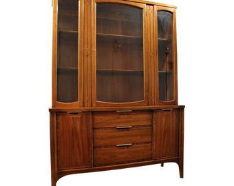 Mid-Century Credenza Danish Modern American of Martinsville Walnut China Cabinet #2