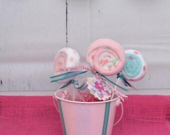 Baby Washcloth Lollipops Unique Baby Shower Decor Baby Shower Table Centerpiece Baby Shower Gift Unique Baby Girl Shower Ideas Gender Reveal
