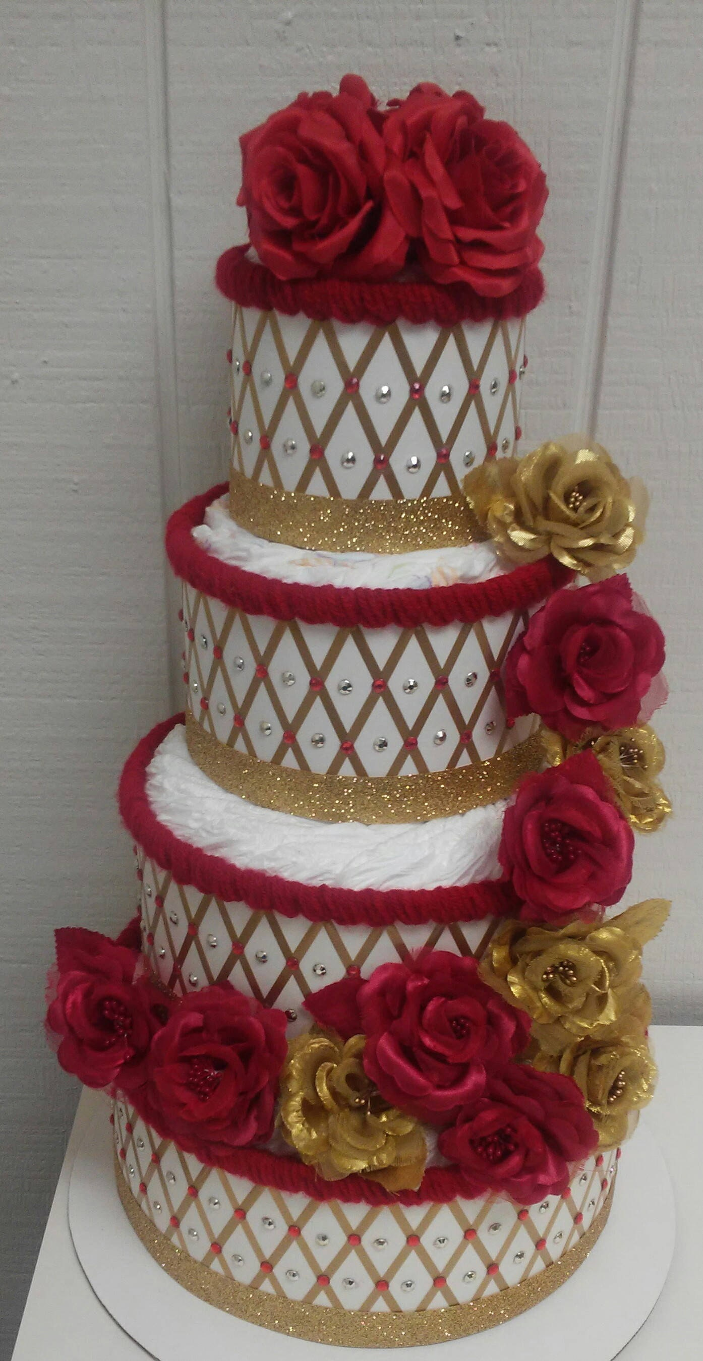 Beauty And The Beast Red And Gold Roses Themed Princess Baby Shower Decor ,  4 Tier