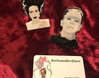 Frankenstein And Bride Brooch Pins Or Magnets