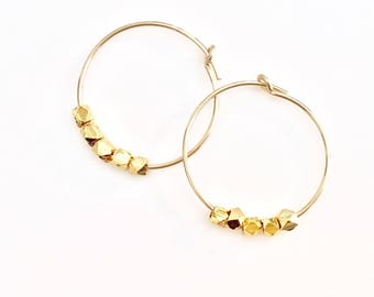 Small Gold Hoops Beaded Earrings Gold Sleeper Hoops Half inch Hoops Tiny Hoops Gold Hoop Earrings Niece Gift Thin Gold Hoops Simple Hoops