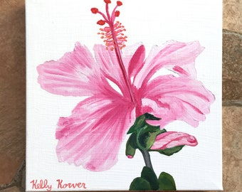 Pink Hibiscus / Original Oil Painting by Kelly Korver / 8 in x 8 in x 3/4 in / Square Painting / Still Life / Ready to Ship