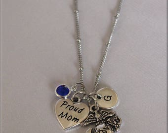 Marine Mom Stainless Steel Chain Necklace Proud Mom Marine Mom with crystal Birthstone and Initial, Proud Marine Mom with EGA Pendant, USMC