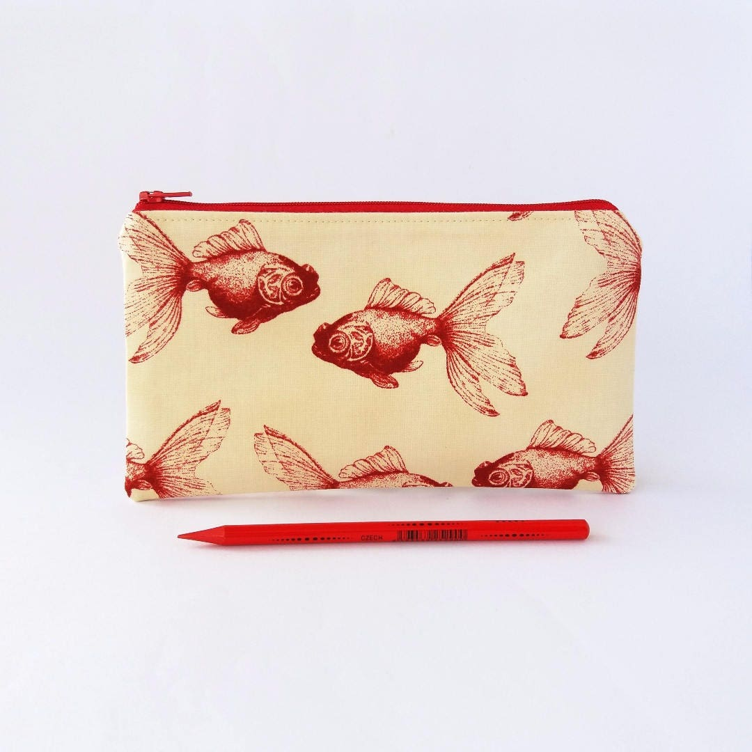 Fish wallet pencil case zipper pouch gold fish pouch small for Fish pencil case