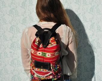 Backpack women, woven backpack, backpack vintage, tribal backpack, upcycled backpack, recycled backpack, unique backpack