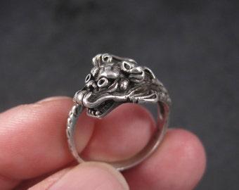 Vintage Sterling Dragon Ring Size 9