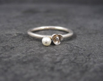 Dainty Sterling Pearl Flower Stacking Ring Size 8