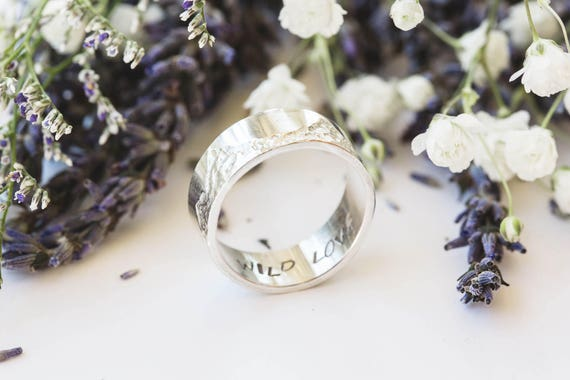 Mountain sterling silver mens wedding band, sterling silver wedding ring, mountain ring, wild love nature ring