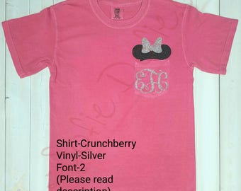 Minnie Mouse Shirt/Disney Shirt/Pocket Shirt/Short Sleeve Shirt/Monogrammed Shirt/Comfort Colors Shirt