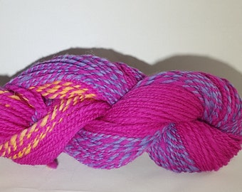 100% Wool Handspun Yarn - Pink/Variegated by terrafibres