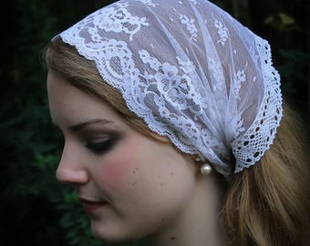 Evintage Veils~Irish Crochet Lace Soft Headwrap Soft Vintage-Inspired  Lace Headband Kerchief Tie-style Head Covering Church Veil