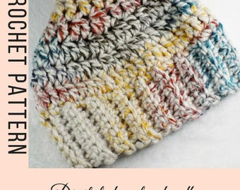 Messy bun beanie pattern - Crochet pattern for hats - Ponytail Hat pattern - crochet hat pattern - messy bun hat pattern - instant download