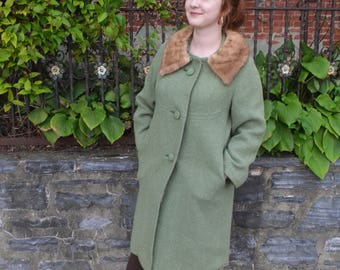 60s Style Fur Collar Pea Coat