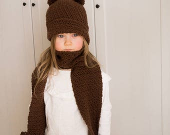 CROCHET PATTERN bear cloche and pocket scarf set Penny (toddler and kids sizes)