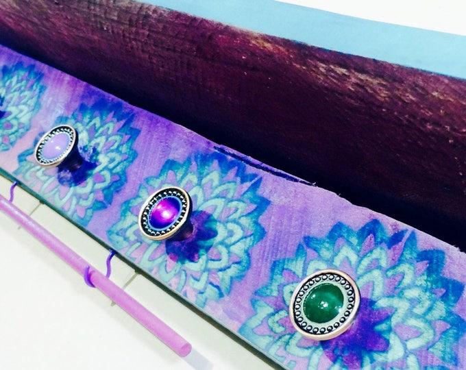 Bathroom vanity shelf Floating shelves towel racks rod reclaimed wood decor makeup organizer lotus flowers 5 knobs 2 hooks teal bracelet bar