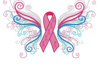 Butterfly cancer awareness embroidery design