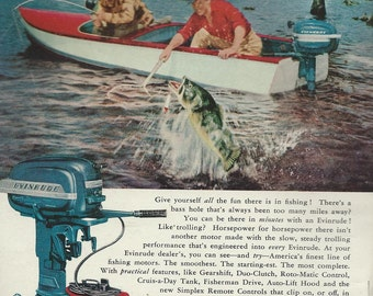 evinrude boat motor  fishing advertising 1950s download