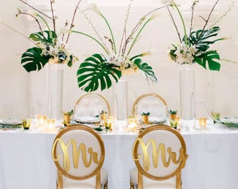 GOLD Mr Mrs chair signs. Wedding chair signs. Gold or silver chair signs.