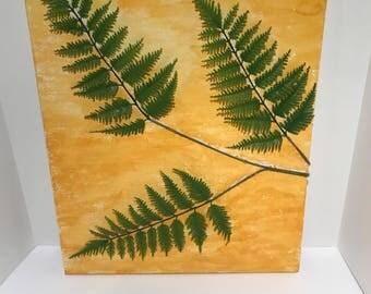 Watercolor 3D Botanical Fern Wall Art 16x20