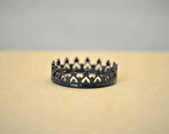 Dainty Black Crown Ring, Black Princess Crown Ring, Princess Ring, Tiara Ring, Queen Ring, Black Ring, Black Princess Ring, Black Crown Ring