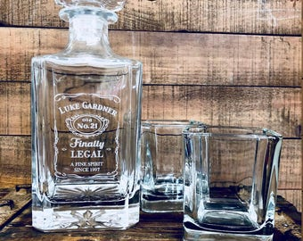 21st Birthday Gift, Finally Legal Custom Engraved Glass Whiskey Decanter, Twenty First Birthday Gift For Him, Personalized Liquor Decanter