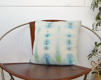 Organic Raw Silk Ice Dyed 18x18 Cushion (ON SALE)