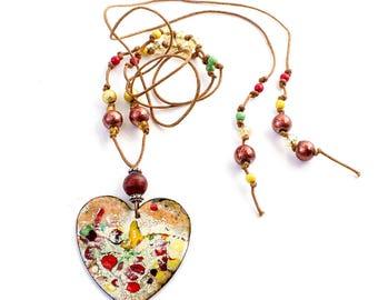 Vintage Copper Enamel Heart Pendant Beaded Choker Necklace, Bohemian, Hippie 1960'S