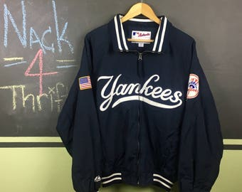 Vintage New York Yankees Zip Up Majestic Authentic Zip Up Sized Medium Jacker With Patches