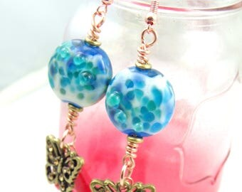 Blue Lentils with Butterflies Wire Wrapped Dangle Earrings Handmade Lampwork Beads Cute Pair of Handmade Beaded Earrings