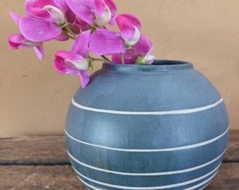 Small ceramic vase, ceramic bud vase, ceramic planter, white and blue