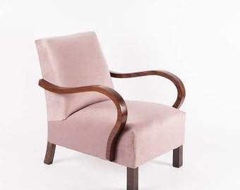 Reloved Armchair . Tea Rose  | Upholstered Chair | Vintage Chair | Lounge Chair | Retro | Restored | Dusty Pink | Rose | Modern Vintage