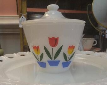 "Vintage Fire King ""Tulips"" Lidded Grease/Drip Jar!"