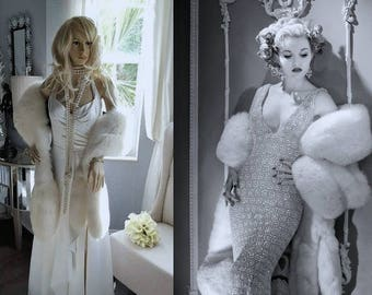 ON HOLD for HALEIGH Luxury Vintage Fox Fur Stole  Arctic White Fox Fur - Boa -Shawl - Cape -Wrap - Fling - Bridal Fur - Wedding Gatsby Bride