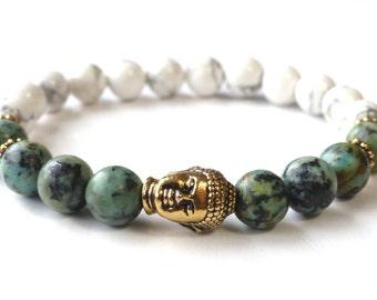Spiritual Buddha Bracelet African Tourquoise Bracelet Buddhist Bracelet Yoga Jewelry Reiki Bracelet Best girlfriend Gift Wrist Mala Beads