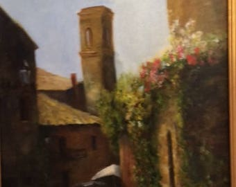 Italian cafe original oil painting