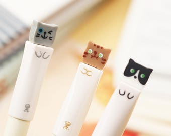 Cute Cat Pens / Kawaii Cat Pens / Cute Pens / Kawaii Pens / Cute Stationery / Cute Gel Pens / Kawaii Gel Pens / Kawaii Stationery / Gel Pens