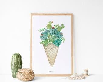 Ilustración helado de cactus y suculentas: Ilustración divertida, pintura en acuarelas. Decoración botánica.