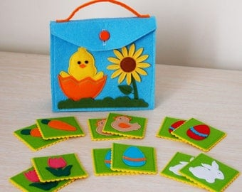 Fabric memory game etsy nz memory matching game concentration game easter themed educational toy for toddlers and preschoolers negle Choice Image
