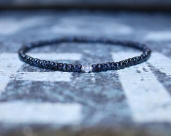 Mens Rose Quartz Bracelet - Men's Love Gift for Husband - Men's Bead Bracelets, Mens gift for him Husband Gift , Mens Seed Bead