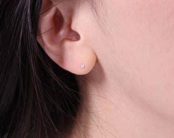 2mm CZ Earring, Sterling silver Earring, Post Earring, Dainty cz studs, Diamond CZ, Tiny silver earrings, small silver earrings,Silver studs