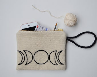 Moon Phases Pouch Bag Wool Clutch Bag Hand Embroidered Purse with Zipper Gift Bag Cosmetic Bag
