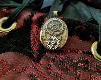 Petite Steampunk Pendant - Resin and Gears