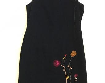 Velvet Black Floral Women's Petite Sophisticate Sleeveless Shift Dress Size 8