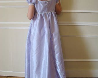 Empire dress girl purple taffeta and white stripe of the 6-12 years
