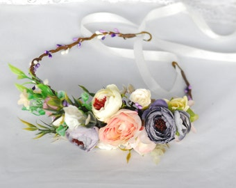 Flower headband Bridesmaid flower crown Winter wedding Flower headpiece Bridal floral crown Flower girl bridesmaide Wedding flower crown