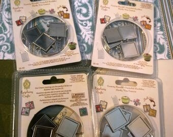 Charm Settings Square 25 Silver Epiphany Crafts Papercrafts bezel paper craft crafting card making scrapbook (2 pks per sale)