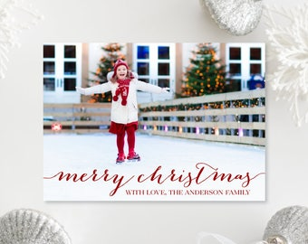 Printable OR Printed Photo Christmas Cards - Red Merry Christmas Photo Holiday Cards - Simple Horizontal Photo Printed Cards 004 P1